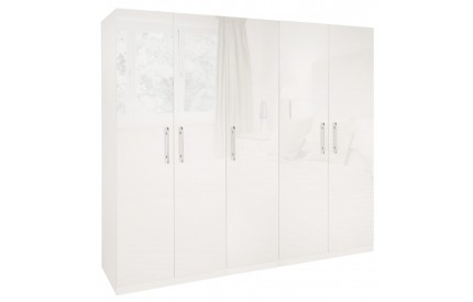 Charms High Gloss White 5 Door Wardrobe