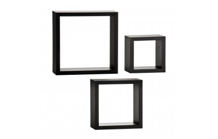 Wall Cubes Set of 3 Black