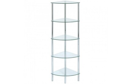 Cologne Clear Glass Corner 5 Shelf Unit
