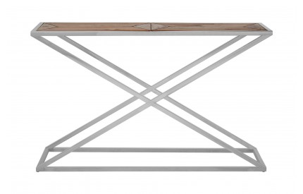 Hudson Console Table Distressed Fir Wood Veneer Stainless Steel