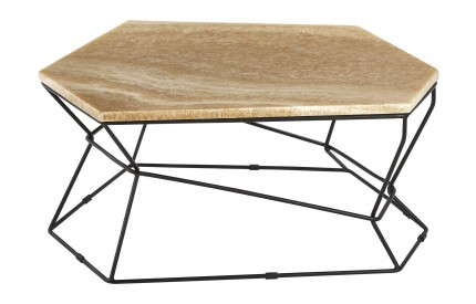 Newcity Coffee Table Onyx Stone Powder Coated Iron Base