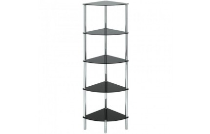 Cologne Black Glass Corner 5 Shelf Unit
