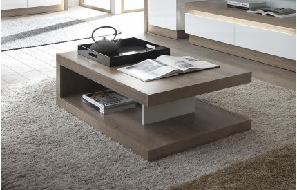 Lyon Designer Coffee Table White Gloss Oak