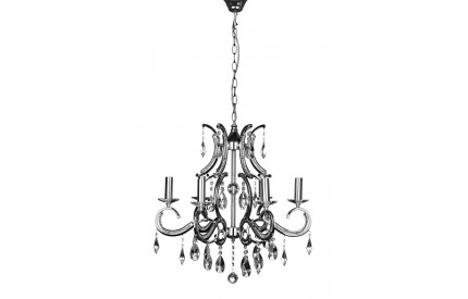 Cassandra Chandelier Chrome Iron Frame/Crystal 6 Arm