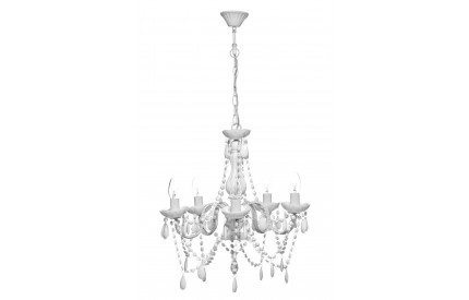 Versailles Chandelier 5 Arm White Acrylic Beads