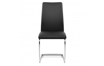 Athens Chair Black Leather Chrome Silver Frame