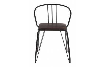 District Arm Chair Black Metal and Elm Wood