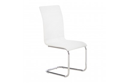 Dining Chair White Chrome