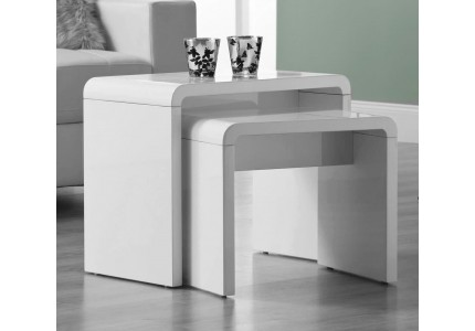 Manhattan High Gloss White Nest of 2 Tables