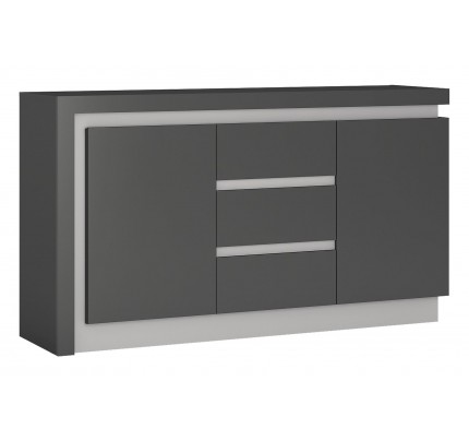 Lyon 2 Door 3 Drawer Sideboard Grey Gloss