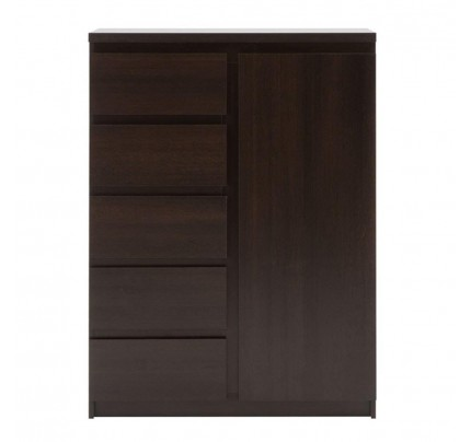 Pello 1 Door 5 Drawer Cabinet Dark Mahogany