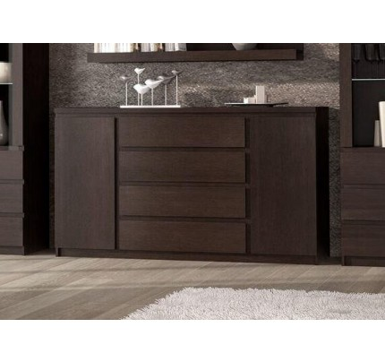 Pello 2 Door 4 Drawer Extra Wide Sideboard in Dark Mahogany