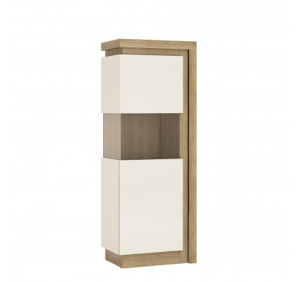 Lyon Narrow Display Cabinet (LH) 165cm White Gloss