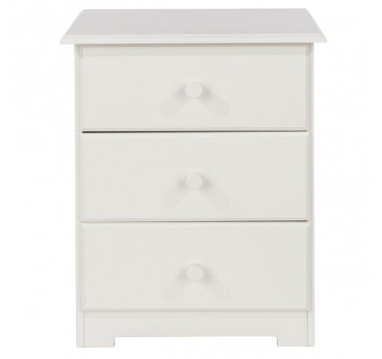 Scandi 3 Drawer Bedside in Ivory
