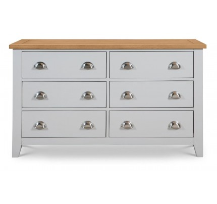 Richmond New 6 Drawer Wide Chest of Drawers Grey