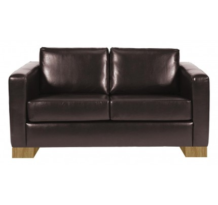 Minimalist Dark Brown Leather 2 Seater Sofa