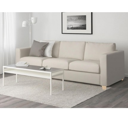 Minimalist Cream Leather 3 Seater Sofa
