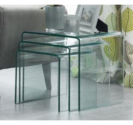 Amalfi Curved Glass Bent Glass Nest of Tables