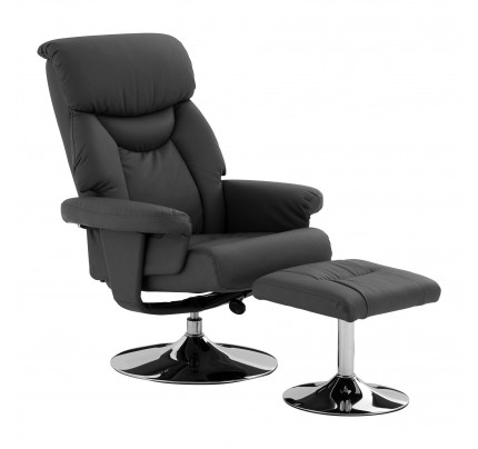 Grey Recliner Chair With Footstool Leather Effect