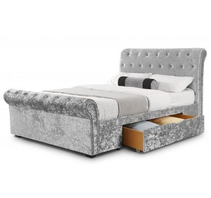 Verona 2 Drawer Storage Bed Silver Crush Velvet