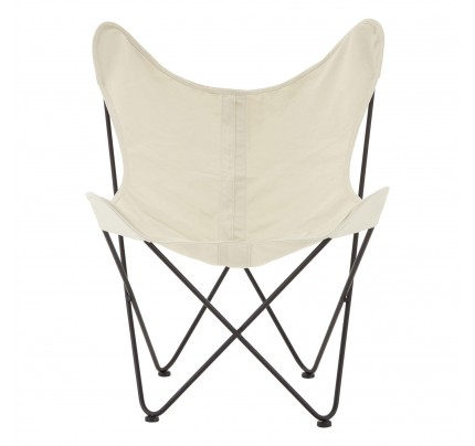 Papillon Butterfly Chair Ivory Canvas Steel Frame