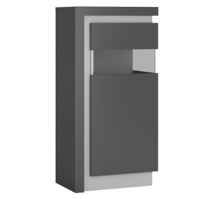 Lyon Narrow Display Cabinet 120cm Grey Gloss (RH)