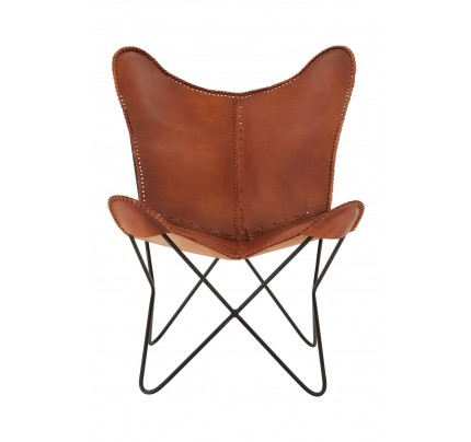 Buffalo Butterfly Chair Brown Buffalo Leather Iron Frame