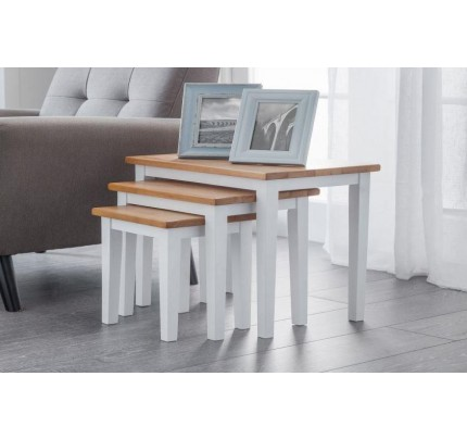 White / Natural Oak Cleo Nest of Tables