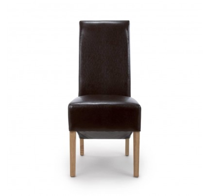 Krista Roll Back Bonded Leather Brown Dining Chair