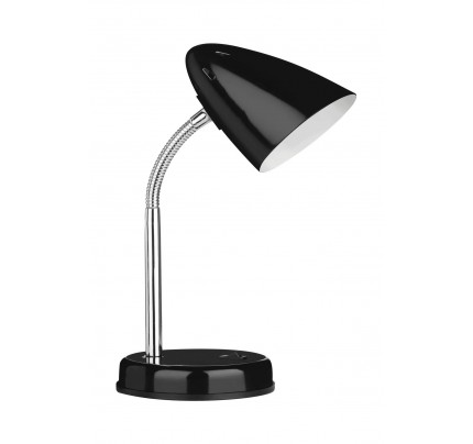 Desk Lamp Black Gloss Chrome Flexible Stem