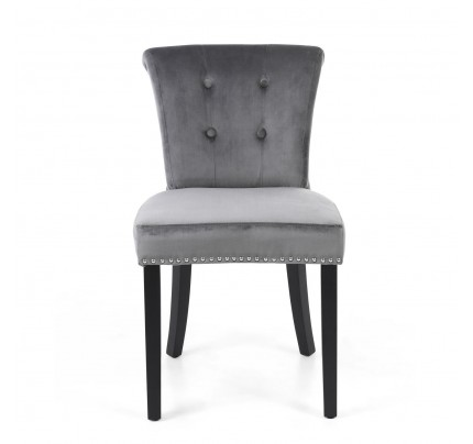 Sandringham Lionhead Brushed Velvet Grey Accent Chair