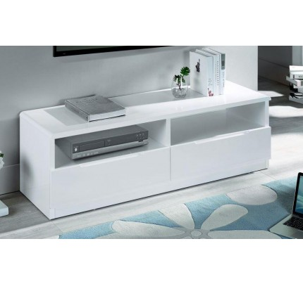 Manhattan 2 Drawer Media Unit High Gloss White