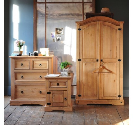 Rustic Mexican Pine Trio Wardrobe, Chest & Bedside