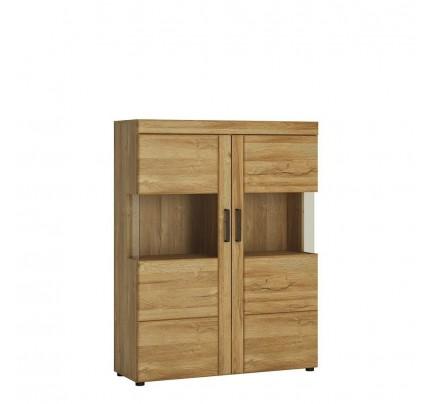 Cortina Low Wide 2 Door Display Cabinet Oak