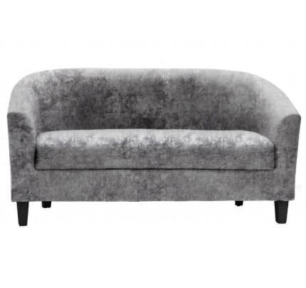 2 Seater Tub Sofa Crushed Velvet Silver