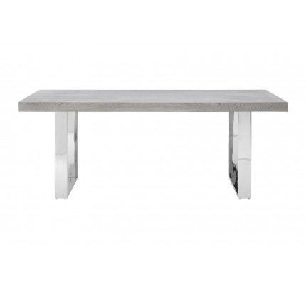 Dining Table Grey Elm Wood Stainless Steel Legs