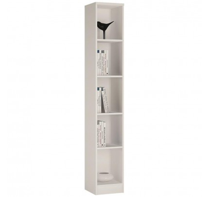4 You Tall Narrow Bookcase in Pearl White
