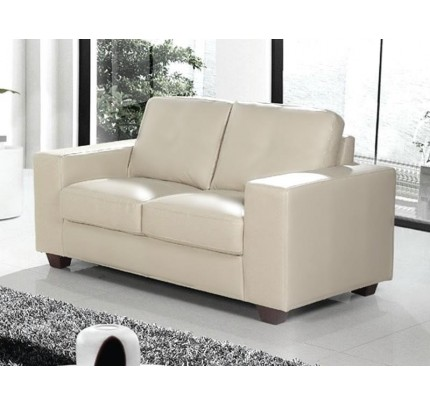 Minimalist Cream Leather 2 Seater Sofa