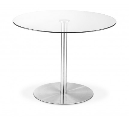 Milan Round Glass Brushed Steel Pedestal Dining Table