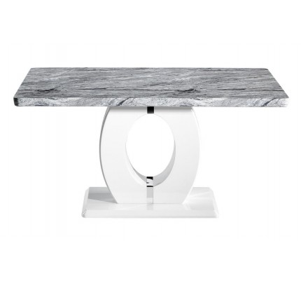 Neptune Medium Marble Effect Top High Gloss Grey/White Dining Table
