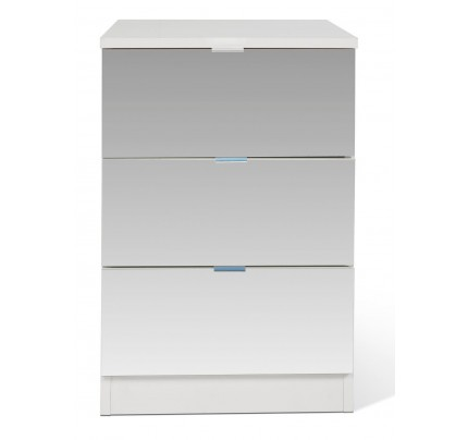 Shino All Mirrored 3 Drawer Bedside