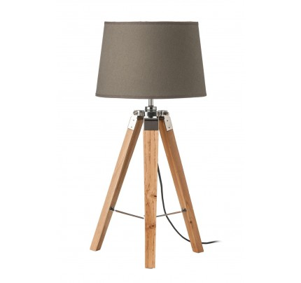 Tripod Table Lamp Light Wood Grey Shade / EU Plug