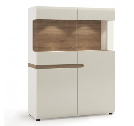 Chelsea Living Low Display Cabinet White Gloss 109cm