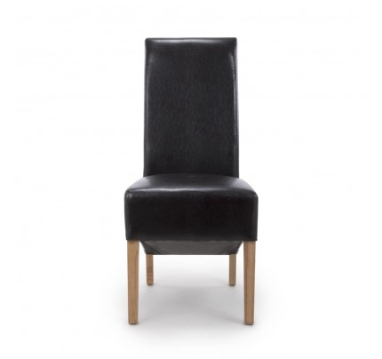 Krista Roll Back Bonded Leather Black Dining Chair