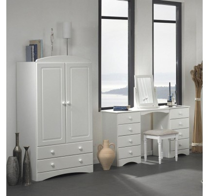 Scandi 2 Door 2 Drawer Combi Wardrobe in Ivory