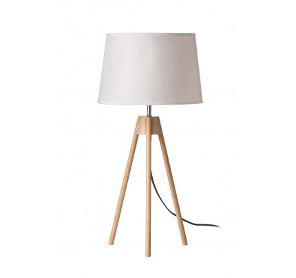 Tripod Table Lamp Light Wood White Shade / EU Plug