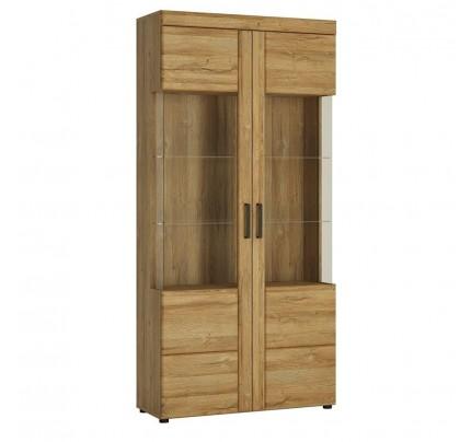 Cortina Tall Wide 2 Door Glazed Display Cabinet Oak