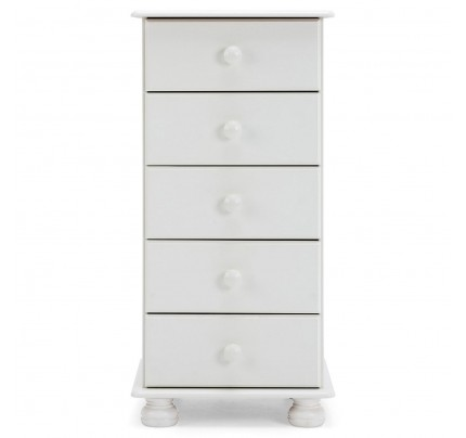 Copenhagen 5 Drawer Narrow Chest in White