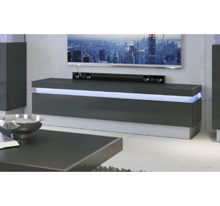 Lyon 2 Drawer TV Cabinet Grey Gloss