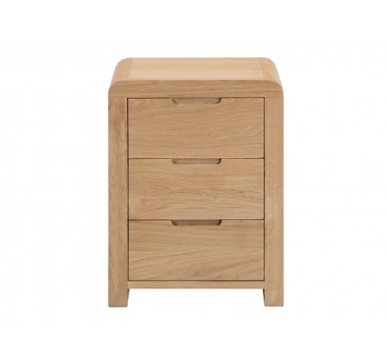 Curve 3 Drawer Oak Bedside